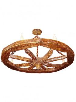 Люстра деревянное колесо