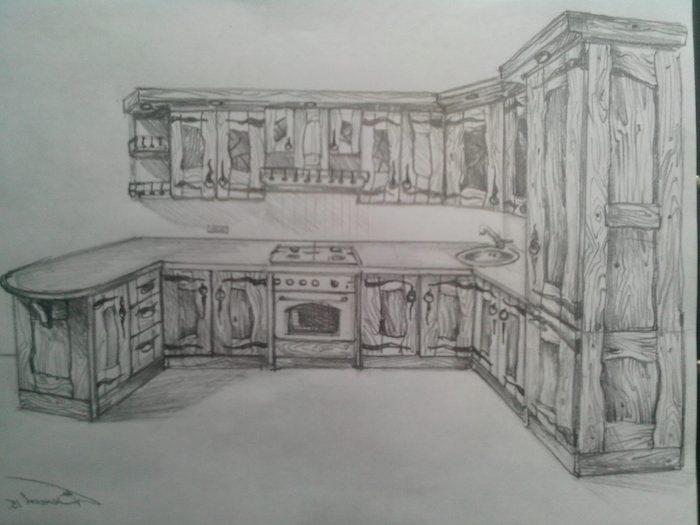 Кухня из дерева под старину дизайнерский эскиз